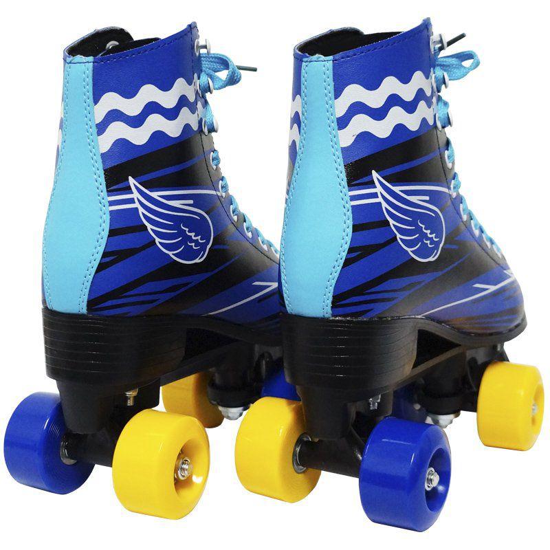 Patins Clássico Tradicional Quad 4 Rodas Roller de Rua Masculino Azul Tamanho 37 Importway BW-020-AZ