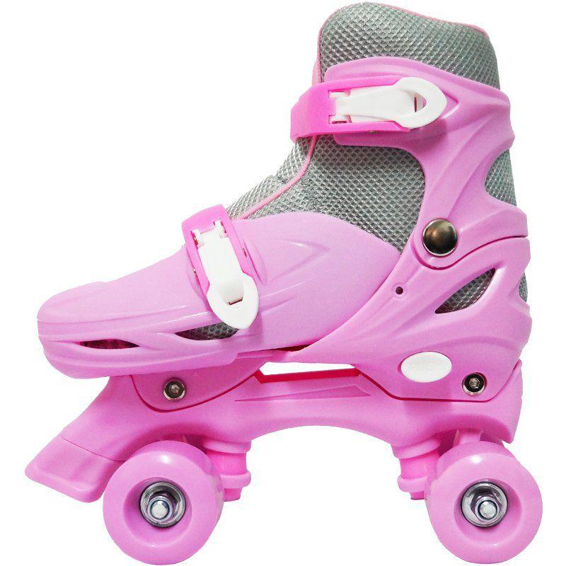 Patins Clássico Quad 4 Rodas Roller + Acessórios Feminino Rosa Tam 29 30 31 32 Importway BW-017-R