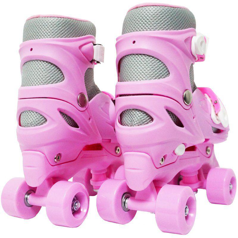 Patins Clássico Quad 4 Rodas Roller + Acessórios Feminino Rosa Tam 33 34 35 36 Importway BW-017-R