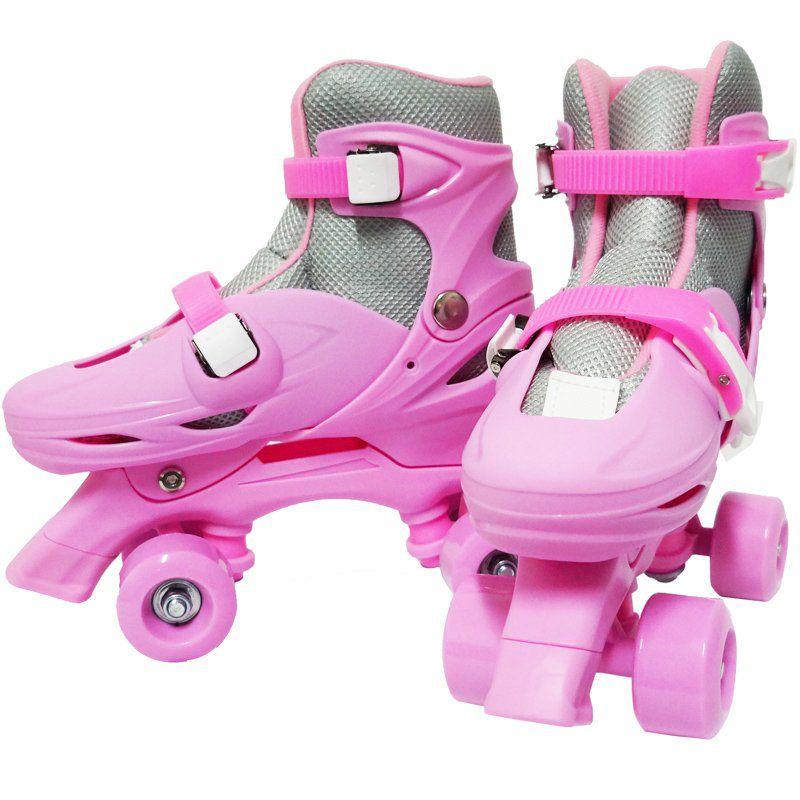 Patins Clássico Quad 4 Rodas Roller de Rua Feminino Rosa Tamanho 29 30 31 32 Importway BW-016-R