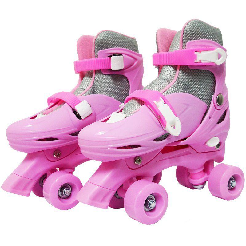 Patins Clássico Quad 4 Rodas Roller de Rua Feminino Rosa Tamanho 37 38 39 40 Importway BW-016-R