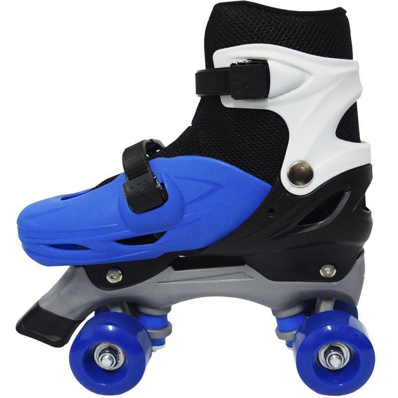 Patins Clássico Quad 4 Rodas Roller de Rua Masculino Azul Tamanho 29 30 31 32 Importway BW-016-AZ