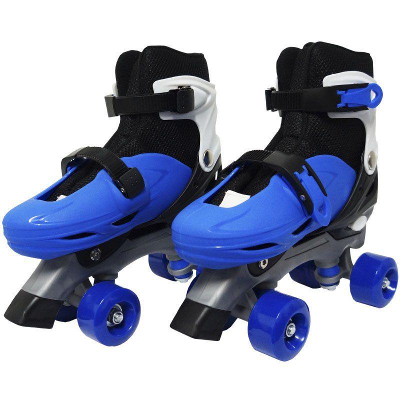 Patins Clássico Quad 4 Rodas Roller de Rua Masculino Azul Tamanho 33 34 35 36 Importway BW-016-AZ