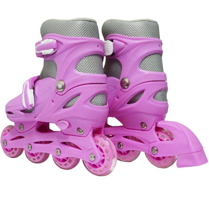 Patins Roller In Line 4 Rodas Infantil Feminino + Acessórios Rosa Tamanho 33 34 35 36 Importway
