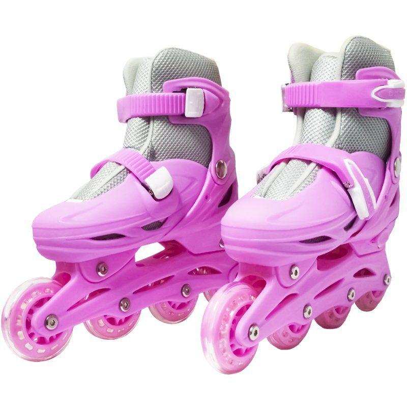 Patins Roller In Line 4 Rodas Infantil Feminino Rosa Tamanho 29 30 31 32 Importway BW-018-R