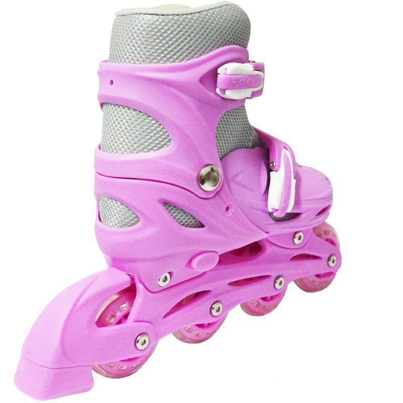 Patins Roller In Line 4 Rodas Infantil Feminino Rosa Tamanho 33 34 35 36 Importway BW-018-R