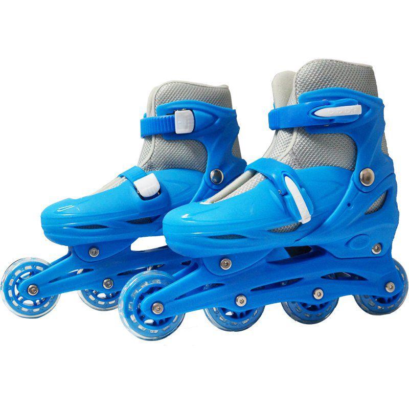 Patins Roller In Line 4 Rodas Infantil Masculino + Acessórios Azul Tamanho 29 30 31 32 Importway