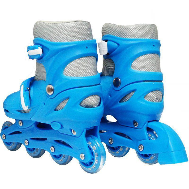 Patins Roller In Line 4 Rodas Infantil Masculino + Acessórios Azul Tamanho 33 34 35 36 Importway