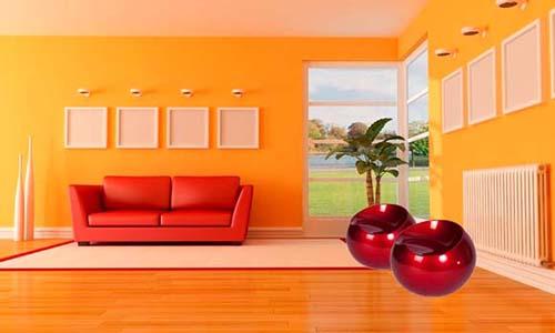 Puff Redondo Decorativo Rígido Abs Maua Design 602734 Vermelho
