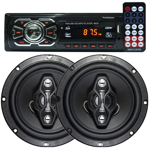 Rádio Mp3 Automotivo 66XX Fm Usb Sd Aux + Par Alto Falante 6,5 Polegadas 120W Rms Quadriaxial  - BEST SALE SHOP