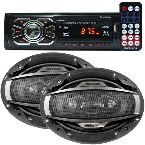 Rádio Mp3 Automotivo 66XX Fm Usb Sd Aux + Par Alto Falante 6x9 Polegadas 200W Rms Quadriaxial  - BEST SALE SHOP