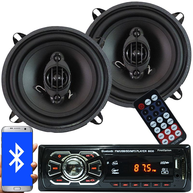 Rádio Mp3 Automotivo Bluetooth Fm Usb 6630BSC + Par Alto Falante Roadstar 5 Pol 110W Rms RS-155
