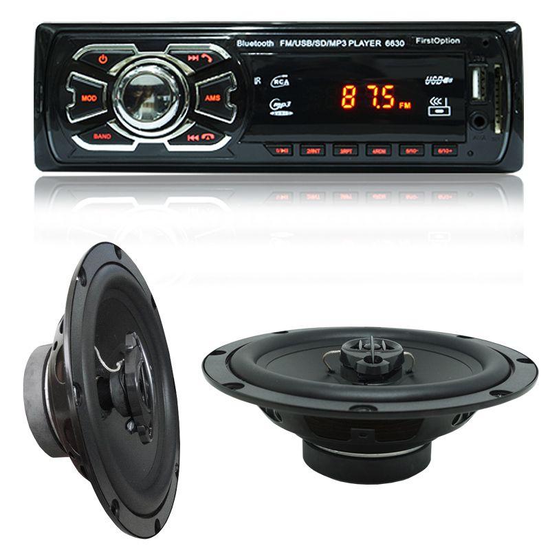 Rádio Mp3 Automotivo Bluetooth Fm Usb 6630BSC + Par Alto Falante Roadstar 6,5 Pol 165W Rms RS-165