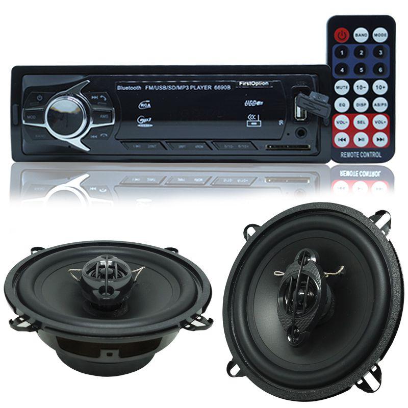 Rádio Mp3 Automotivo Bluetooth Fm Usb 6690BSC + Par Alto Falante Roadstar 5 Pol 110W Rms RS-155