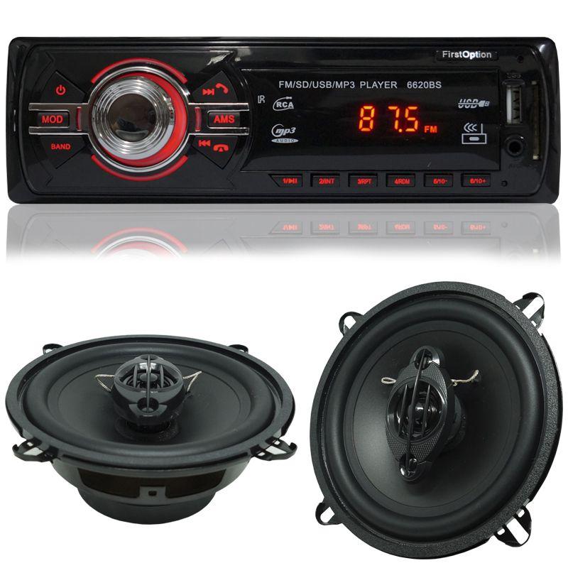 Rádio Mp3 Automotivo Bluetooth Fm Usb + Par Alto Falante Roadstar 5 Pol 110W Rms  - BEST SALE SHOP