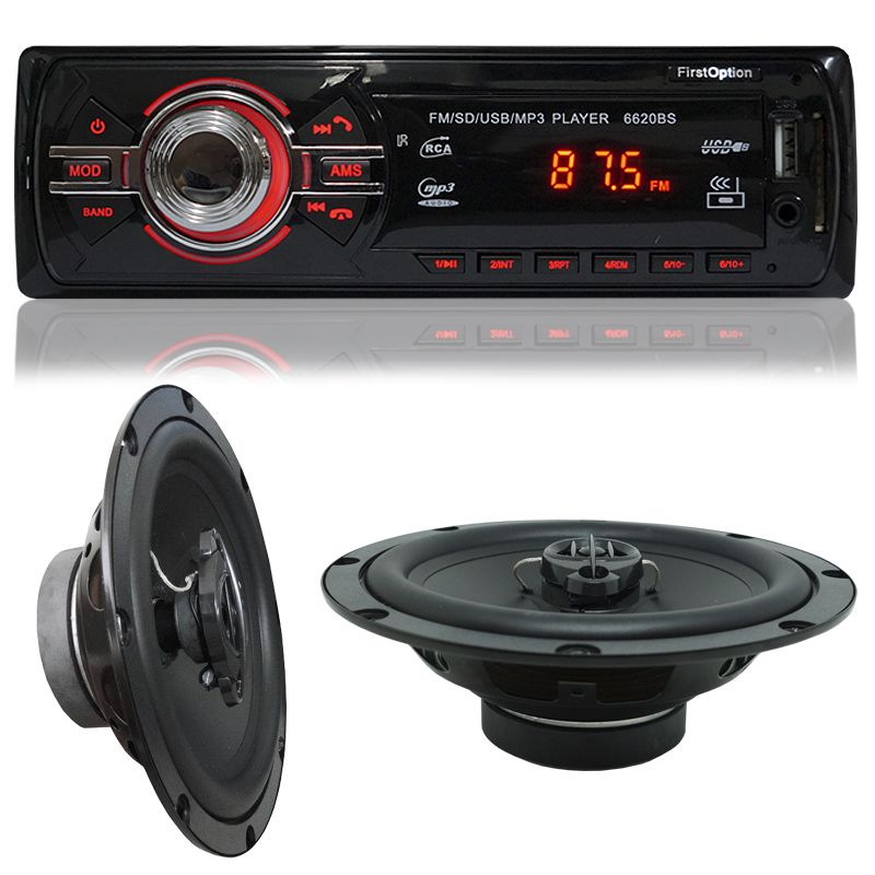 Rádio Mp3 Automotivo Bluetooth Fm Usb + Par Alto Falante Roadstar 6,5 Pol 130W Rms