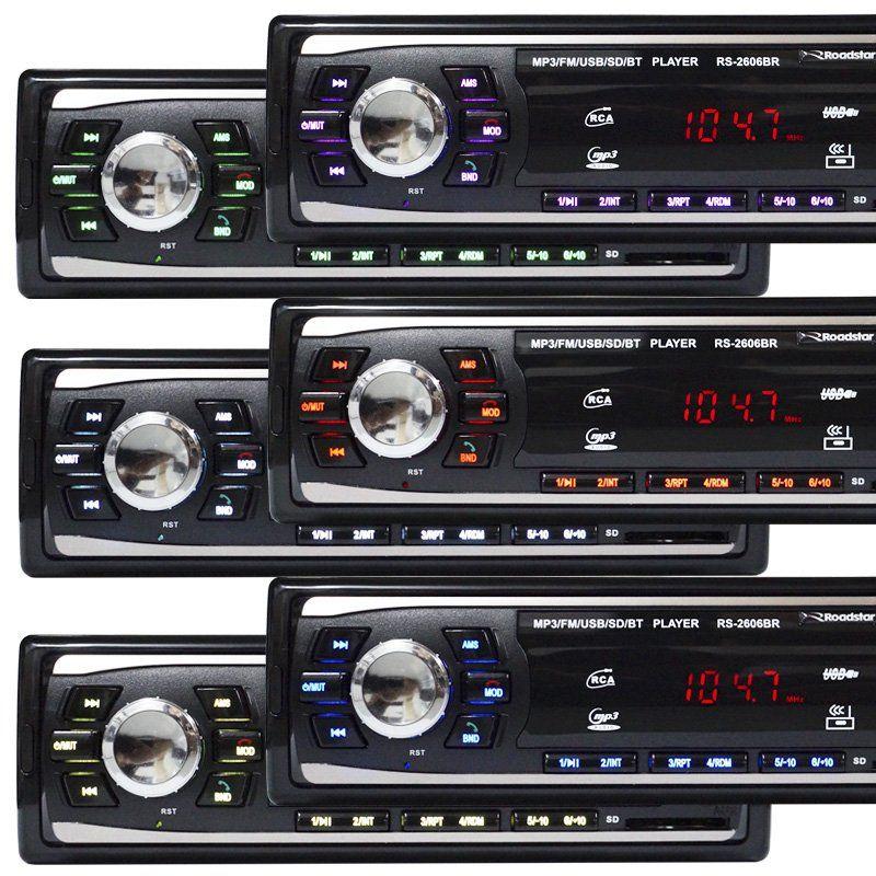 Rádio Mp3 Automotivo Bluetooth Fm Usb RS-2606BR + Par Alto Falante Roadstar 5 Pol 110W Rms RS-155