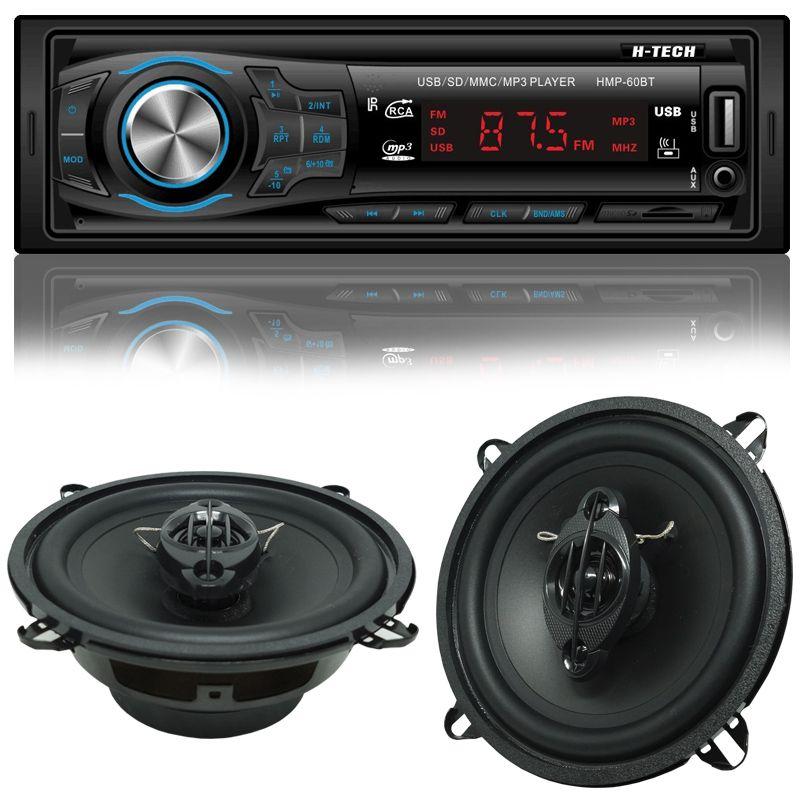 Rádio Mp3 Automotivo Bluetooth H-Tech HMP-60BT Fm Usb + Par Alto Falante Roadstar 5 Pol 110W Rms