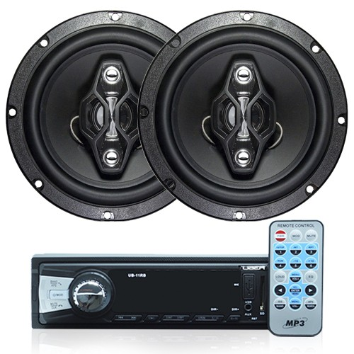 Rádio Mp3 Automotivo Bluetooth Uber Usb Aux Controle + Par Alto Falante 6,5 Pol 120W Rms Quadriaxial  - BEST SALE SHOP
