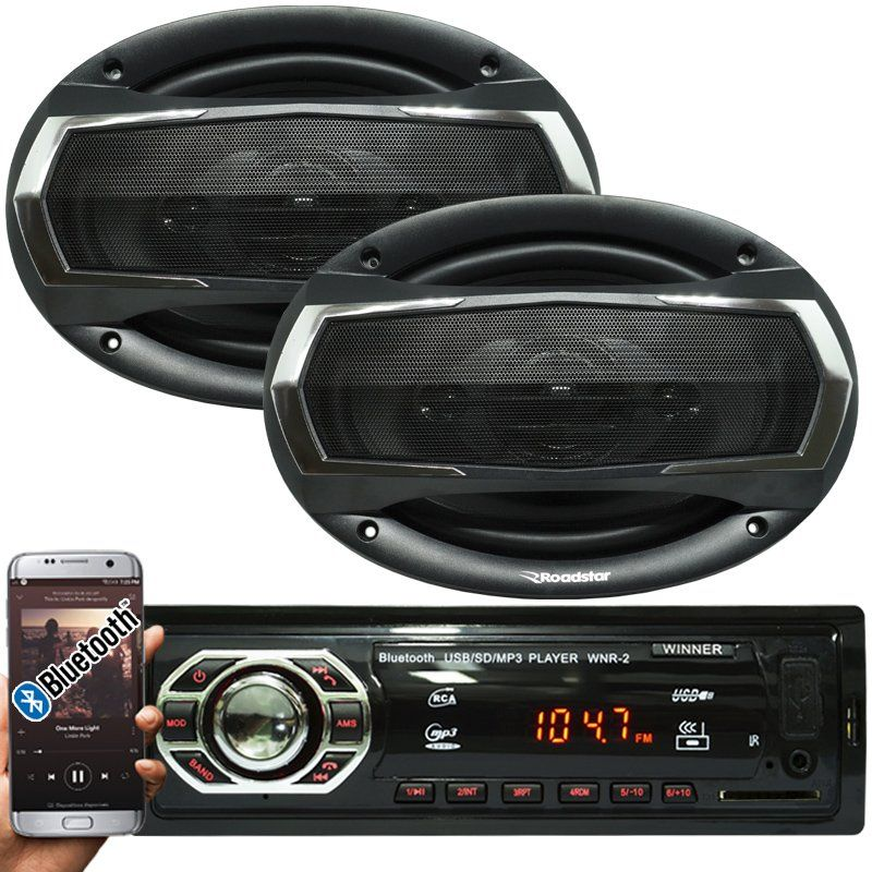 Rádio Mp3 Automotivo Bluetooth Winner Fm Usb + Par Alto Falante Roadstar 6x9 Pol 240W Rms - BEST SALE SHOP