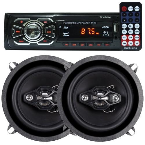 Rádio Mp3 Automotivo D-Max D6080 Fm Usb Sd Aux + Par Alto Falante 5 Polegadas 100W Rms Quadriaxial  - BEST SALE SHOP