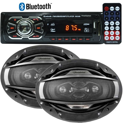 Rádio Mp3 Player Automotivo Bluetooth 6630B Fm Usb Controle + Par Alto Falante 6x9 200W Rms  - BEST SALE SHOP