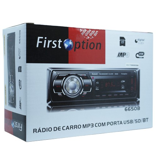 Auto Rádio Som Mp3 Player Automotivo Carro Bluetooth First Option 6650BSC Fm Sd Usb Controle  - BEST SALE SHOP