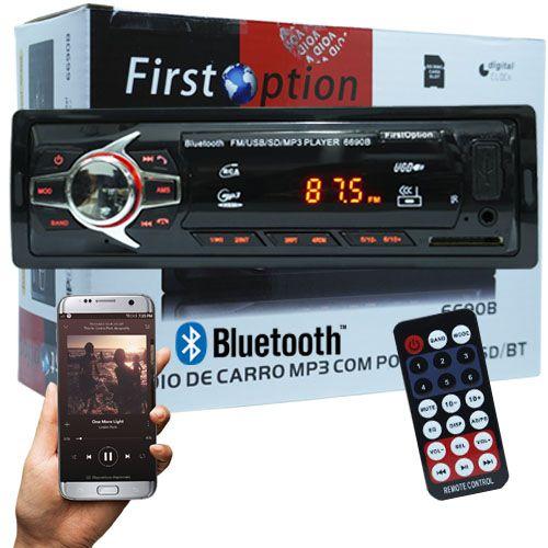 Auto Rádio Som Mp3 Player Automotivo Carro Bluetooth First Option 6690BSC Fm Sd Usb Controle  - BEST SALE SHOP