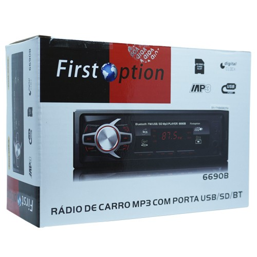 Auto Rádio Som Mp3 Player Automotivo Carro Bluetooth Fm Sd Usb Controle