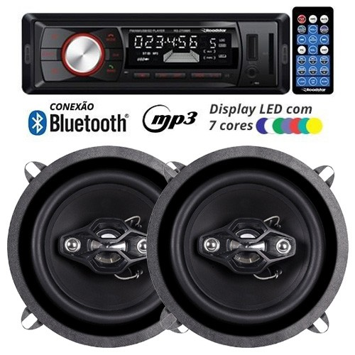 Rádio Mp3 Player Automotivo Bluetooth Fm Usb 7 Cores Iluminação + Par Alto Falante 5 Pol 100W Rms  - BEST SALE SHOP