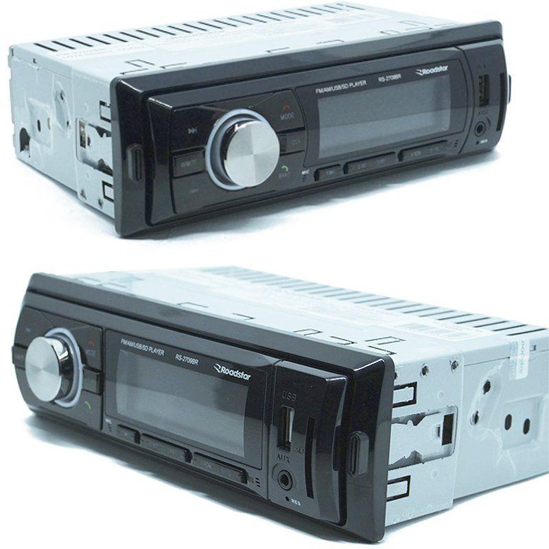 Rádio Mp3 Player Automotivo Bluetooth Fm Usb Roadstar RS-2709BR + 2 Alto Falante 5 Pol 110W Rms