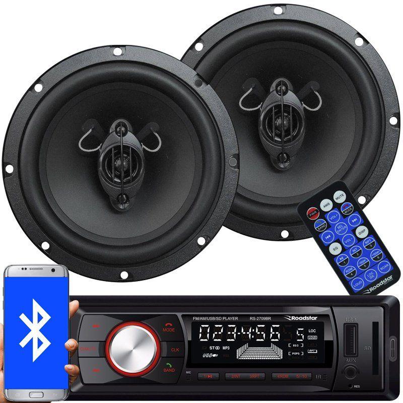 Rádio Mp3 Player Automotivo Bluetooth Fm Usb Roadstar RS-2709BR + 2 Alto Falante 6,5 Pol 130W Rms