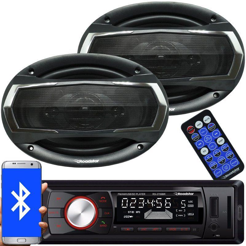 Rádio Mp3 Player Automotivo Bluetooth Fm Usb Roadstar RS-2709BR + 2 Alto Falante 6x9 Pol 240W Rms