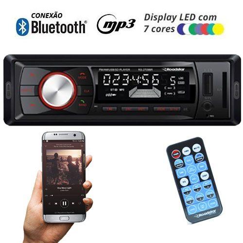 Rádio Mp3 Player Automotivo Bluetooth Roadstar RS-2709BR Fm Usb Controle 7 Cores Iluminação Botões  - BEST SALE SHOP
