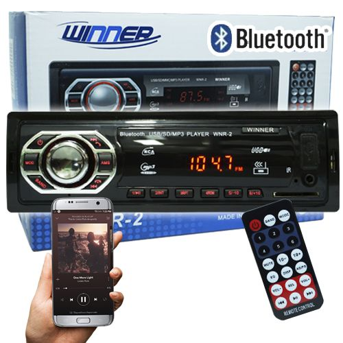 Rádio Mp3 Player Automotivo Bluetooth Winner WNR-2 Fm Sd Usb Aux Controle