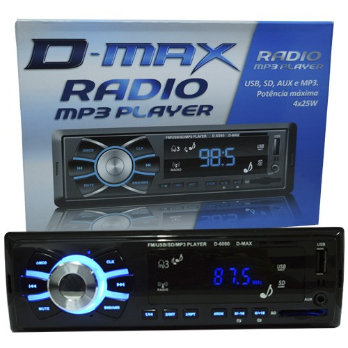 Rádio Mp3 Player Automotivo Toca Som D-Max D6080 Fm Usb Sd Aux  - BEST SALE SHOP