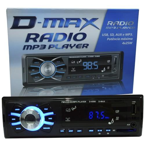 Rádio Mp3 Player Automotivo Toca Som D-Max D6080 Fm Usb Sd Aux