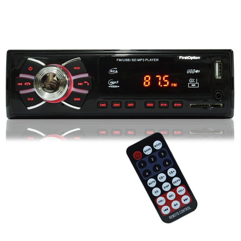 Auto Rádio Som Mp3 Player Automotivo Carro First Option 8620 Fm Sd Usb Controle