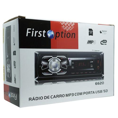 Auto Rádio Som Mp3 Player Automotivo Carro First Option Fm Sd Usb Controle