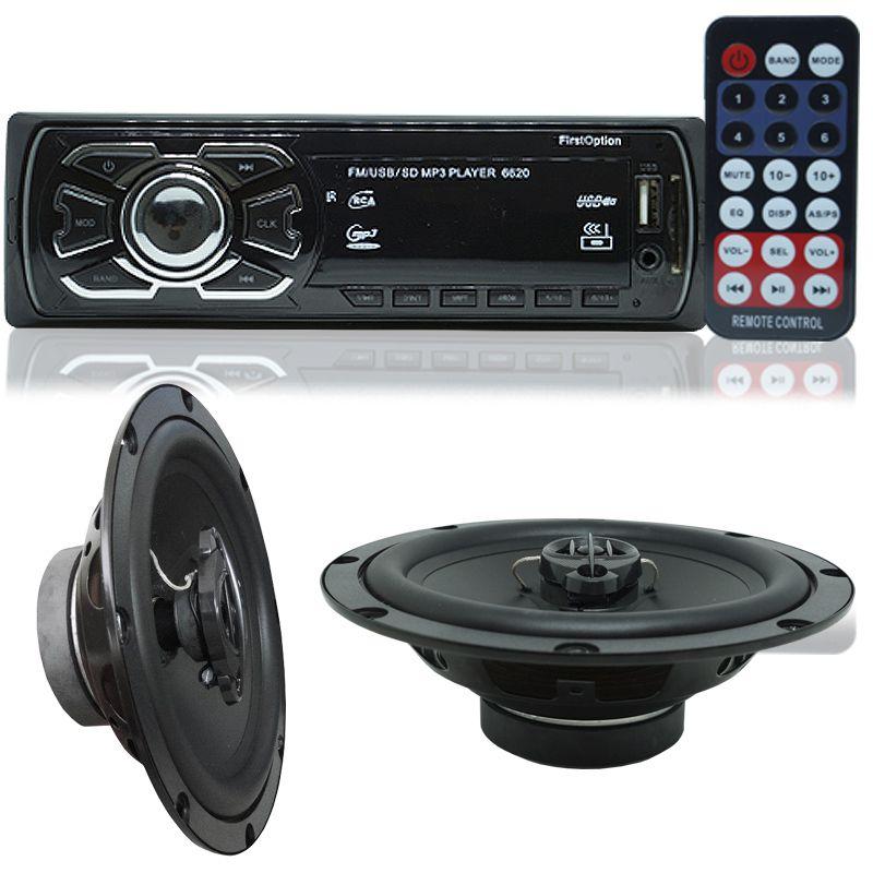 Rádio Mp3 Player Carro Som Automotivo Fm Usb Sd + Par Alto Falante Roadstar 6,5 Polegadas 130W Rms
