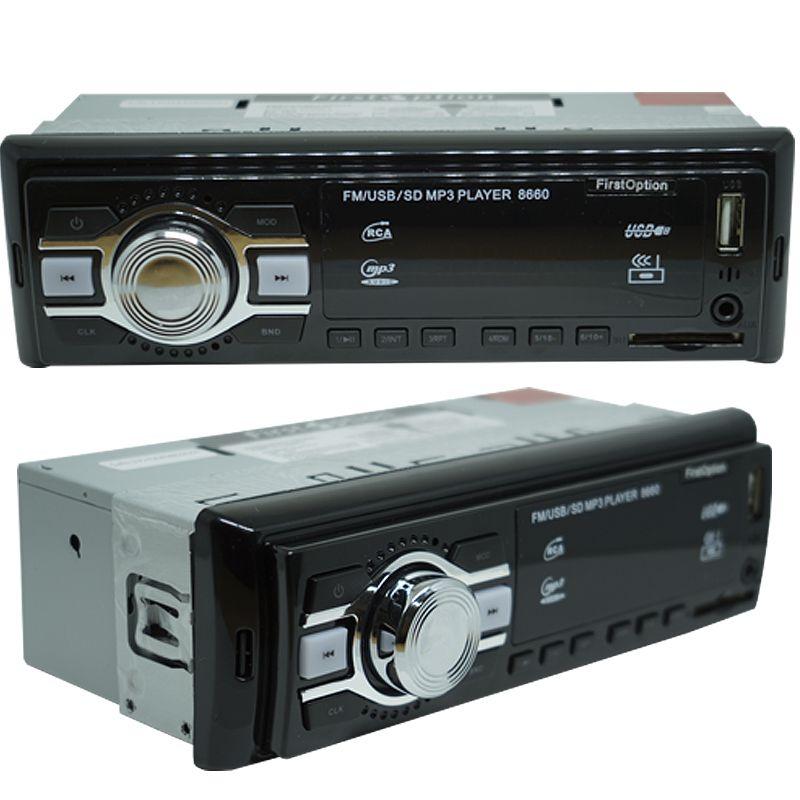 Rádio Mp3 Player Som Automotivo First Option MP3-8660 + Par Alto Falante Roadstar 6x9 Pol 240W Rms