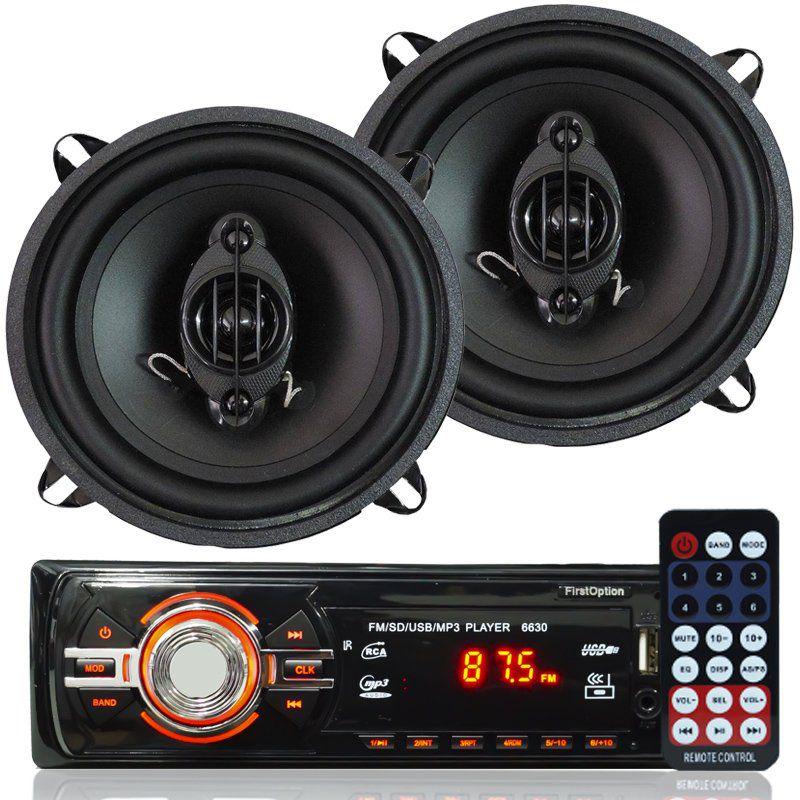 Rádio Mp3 Player Som Automotivo Fm Usb First Option 6630 + Par Alto Falante Roadstar 5 Pol 110W Rms