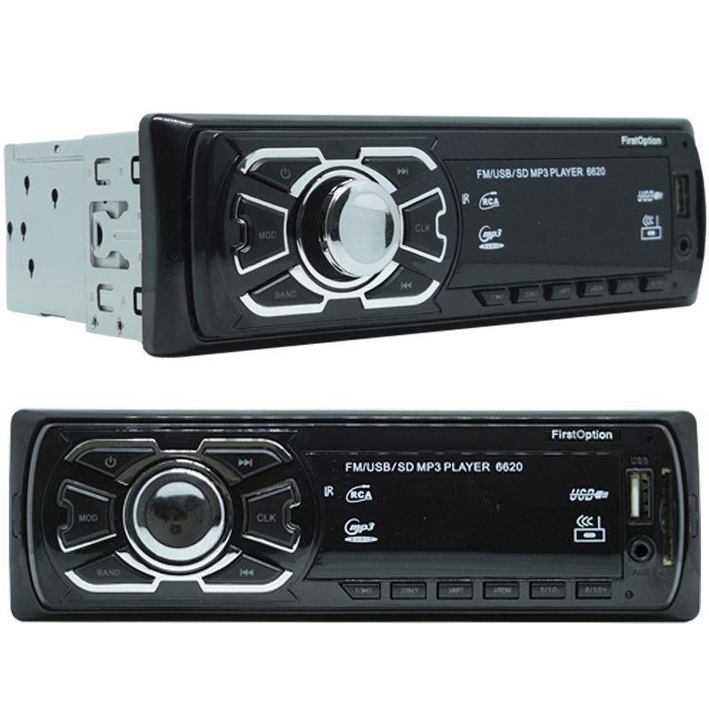 Rádio Mp3 Player Som Automotivo Fm Usb First Option + Par Alto Falante Roadstar 6x9 Pol 240W Rms