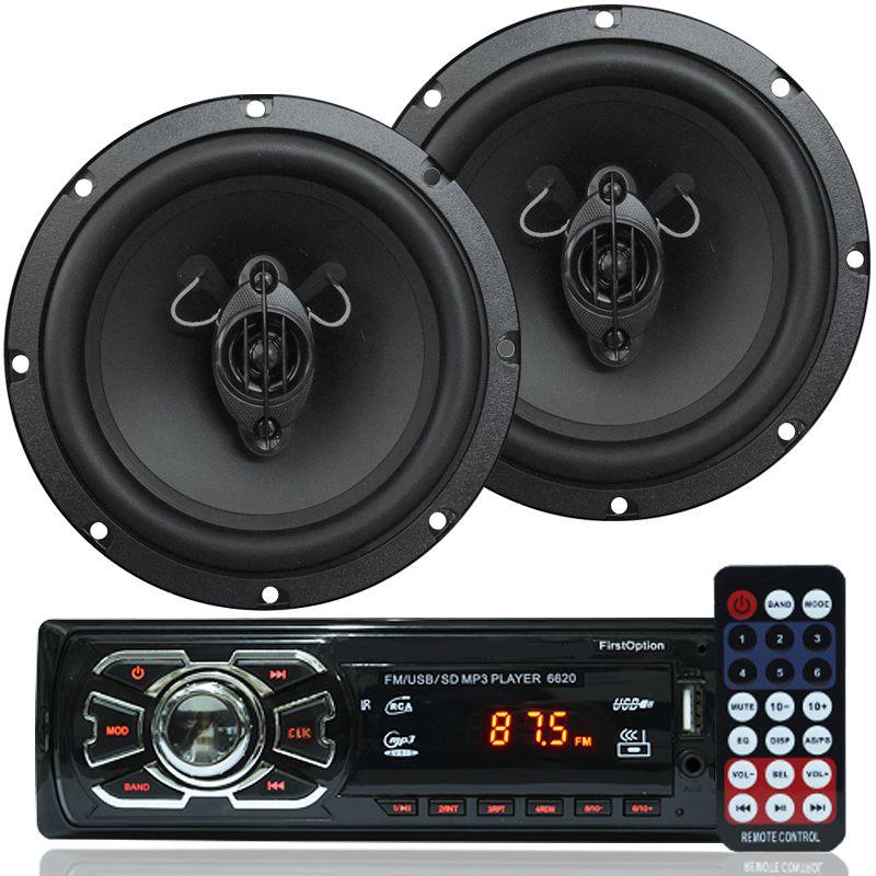 Rádio Mp3 Player Som Automotivo Usb First Option 6620 + Par Alto Falante Roadstar 6,5 Pol 130W Rms
