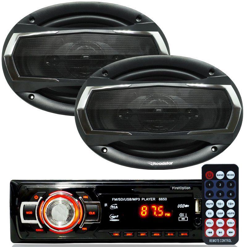 Rádio Mp3 Player Som Automotivo Usb First Option 6650 + Par Alto Falante Roadstar 6x9 Pol 240W Rms
