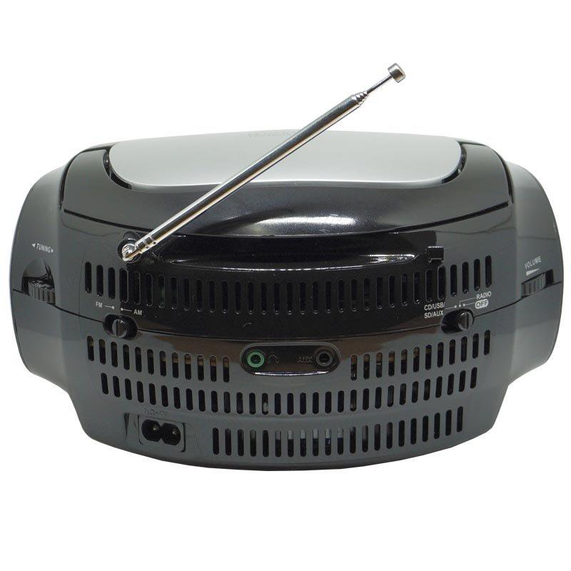 Rádio Portátil Boombox Som Cd Mp3 Player Usb Sd Fm Am Bivolt Amvox AMC 590 Preto