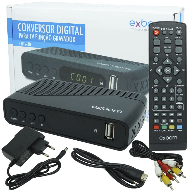 Receptor Conversor Tv Digital Full Hd Função Gravador Usb Hdmi Rca Exbom Isdb-T com Filtro 4G  - BEST SALE SHOP
