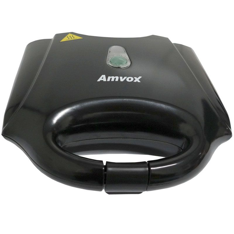 Sanduicheira e Grill Elétrica 110V 127V 750W Dupla Antiaderente Amvox AMS 370 Preta
