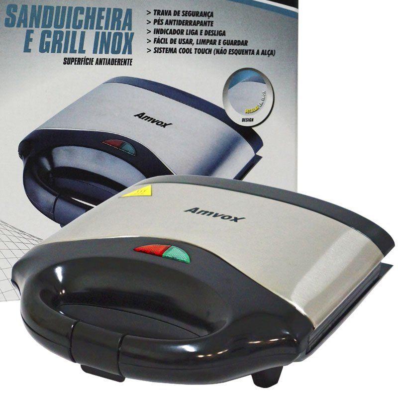 Sanduicheira e Grill Elétrica 110V 750W Dupla Antiaderente Amvox AMS 500 Inox
