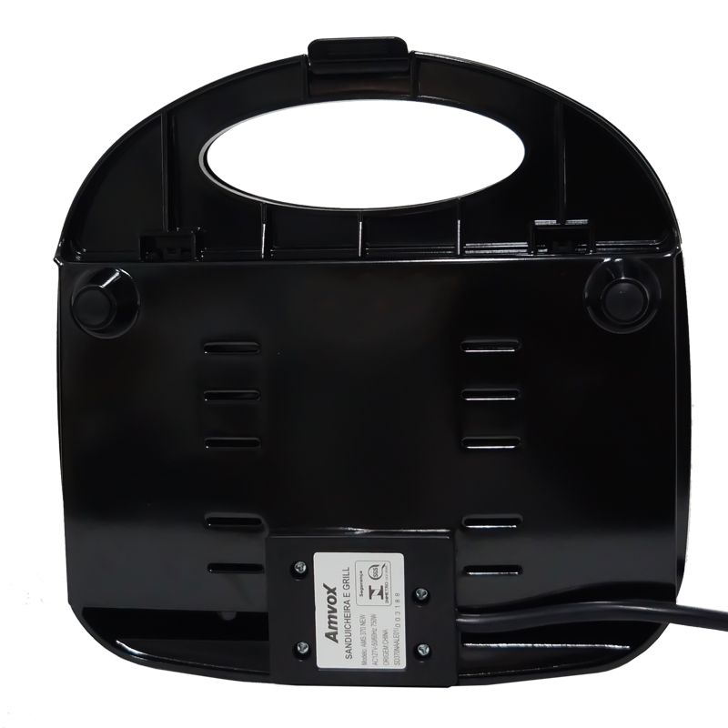Sanduicheira e Grill Elétrica 220V 750W Dupla Antiaderente Amvox AMS 370-2 New Preta